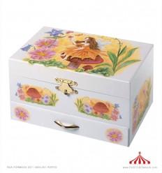 Caixa de jóias com motivos de fadas c/ purpurinas