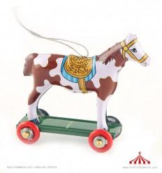 Mini Cavalo branco-castanho em chapa
