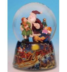 Bola de neve Pai Natal com criança