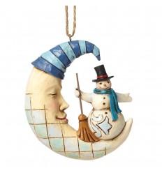 Crescent Moon Snowman Hanging Ornament