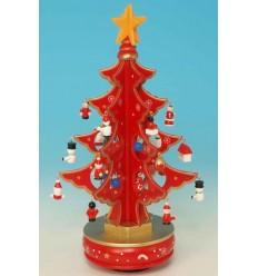 Arvore de Natal vermelha em madeira com 6 partes
