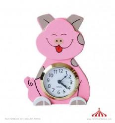 Relógio madeira porco