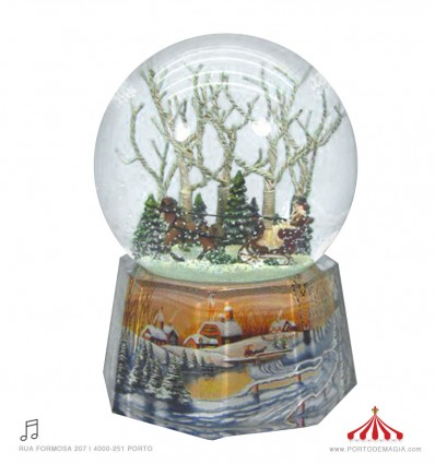 Porcelain snow globe carriage in the florest