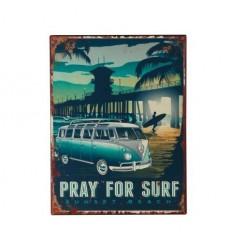 Placa Parede - Pray for surf