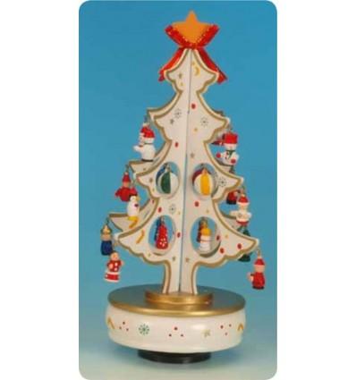 Arvore em madeira branca com decorações