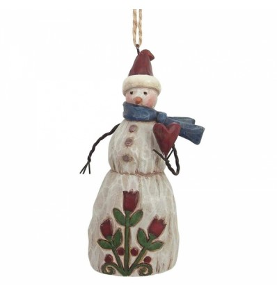 Folklore Snowman With Heart Ornament