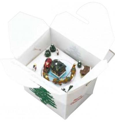 """Caixa de musica em forma de caixa de transporte de comer """"To go"""" Chinês"""