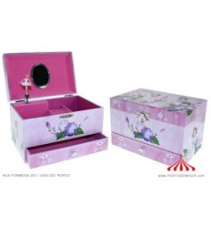 Pink Jewel Box with Purple Fairies 1 Drawer