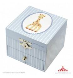 Caixa de Música Fotoluminescente Girafa Sophia (Azul e Branca)