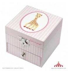 Caixa de Música - Fotoluminescente Girafa Sophia (Rosa e Branca)